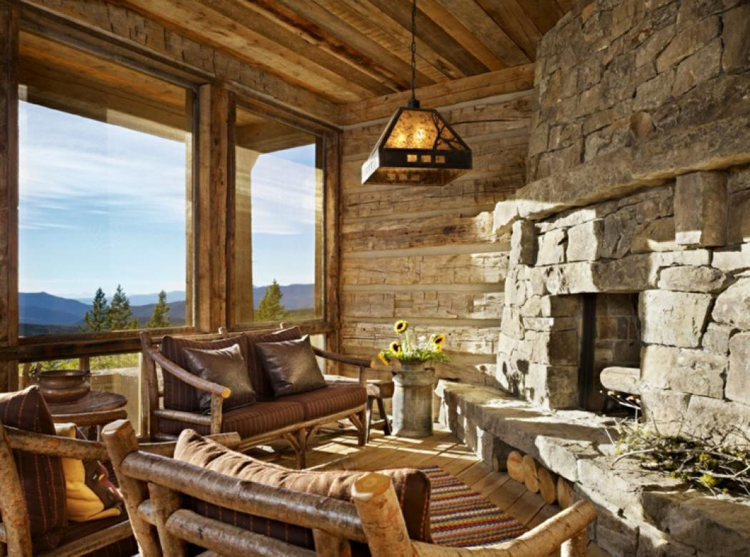 Maison rustique enti rement en bois au montana tats for Log cabin sunrooms