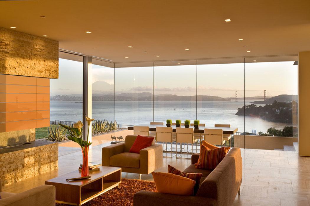 Séjour moderne maison de luxe avec vue