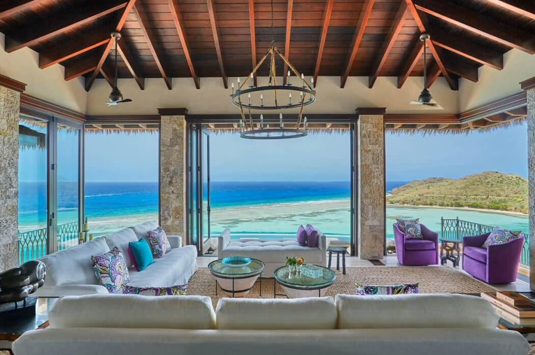 salon exotique vue sur mer panoramique