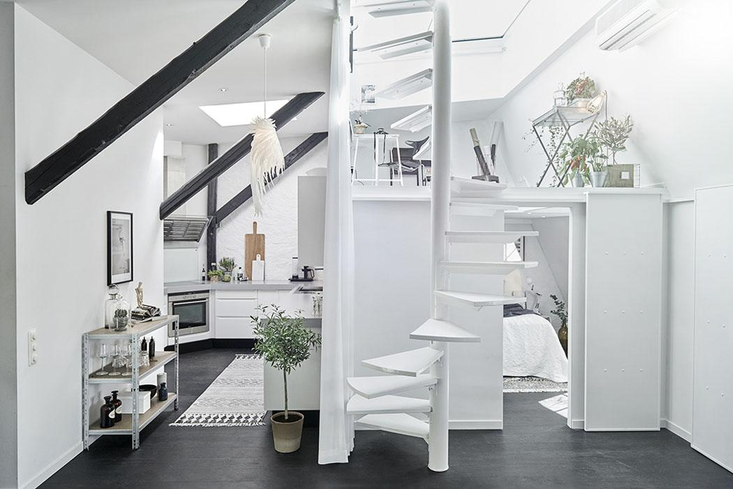 Bel appartement moderne sous le toit au design scandinave - Decoration petit appartement moderne ...