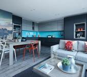 cuisine turquoise appartement de ville