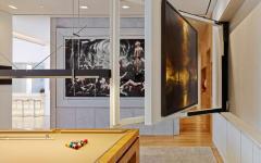 écran tv plat salle de billard appartement de luxe