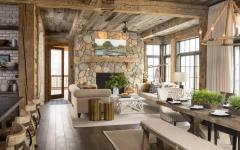 intérieur pierre bois cheminée maison rustique montagne