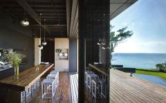 cuisine baie vitrée terrasse vue mer