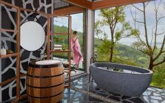 baignoire design rustique salle de bain avec vue