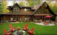 maison avec vue sur le lac au design rustique
