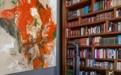 Bibliothèque salon de travail maison contemporaine