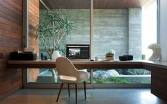 bureau mur en verre transparent vue