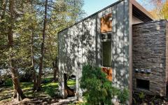 vue extérieure maison en bois montagne