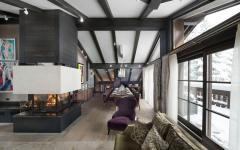 salon séjour salle à manger cheminée chic chalet rustique de luxe