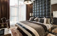 chambre design déco gris tête de lit
