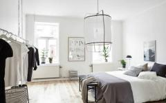 chambre en blanc et gris appartement moderne
