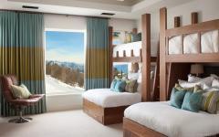 chambre lits superposé vue montagne ski