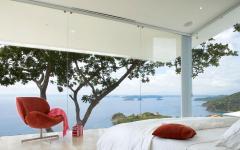 chambre principale luxueuse avec vue sur mer océan villa