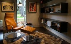 bureau design sombre gris maison rénovée