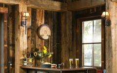 intérieur comptoir bar rustique