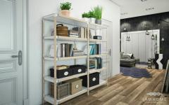 couloir étagère simple intérieur design appartement de ville