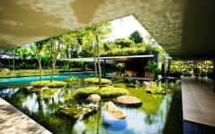 lac artificiel jardin maison familiale exotique