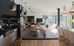 design épuré chic cuisine ouverte américaine villa de luxe