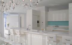 cuisine ouverte aménagée design minimaliste en blanc