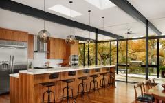 Cuisine ouverte comptoir en bois
