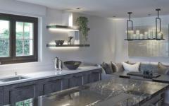 belle cuisine en gris et blanc sophistiquée
