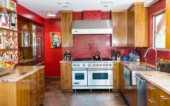 cuisine design déco rouge et bois