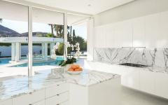 marbre blanc cuisine moderne belle demeure