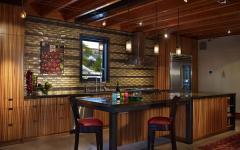 cuisine ouverte américaine design rustique maison flottante
