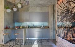 cuisine américaine design minimaliste gris