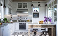 cuisine aménagée blanche rustique