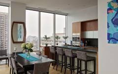 cuisine design et salle à manger avec vue