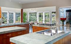 ilot central cuisine design avec vue