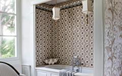 salle de bain design rustique papier peint