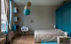 chambre enfants beige turquoise