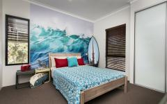 chambre d'ado en blanc et bleu maison de vacances