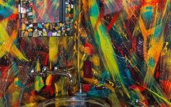 intérieur toilettes déco multicolore