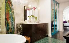 intérieur design salle de bain papier peint
