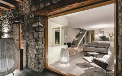 séjour moderne maison rénovée rustique