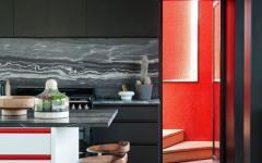 cuisine sombre ouverte moderne maison rénové déco