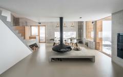 salon luxe et contemporain béton chalet