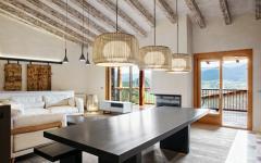 séjour moderne design rustique