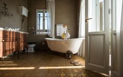 aménagement ameublement rétro salle de bain baignoire