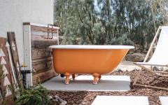 baignoire orange outdoor terrasse