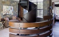 escalier intérieur design original créatif bois courbé