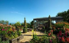 jardin et terrasse de la villa de luxe à Malibu