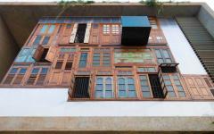 façade récup recyclée maison familiale de ville