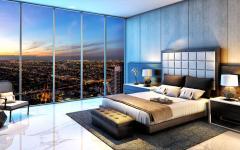 chambre à coucher avec vue penthouse de luxe