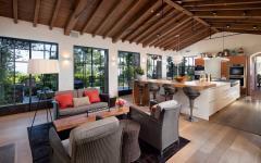intérieur design salon cuisine rustique