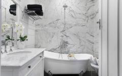 rénovation salle de bains baignoire marbre blanc